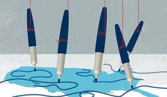 Biden and Democrats using DOJ for Gerrymandering Illustration by Linas Garsys/The Washington Times