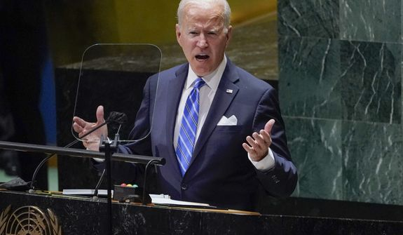 President Joe Biden delivers remarks to the 76th Session of the United Nations General Assembly, Tuesday, Sept. 21, 2021, in New York. (AP Photo/Evan Vucci)