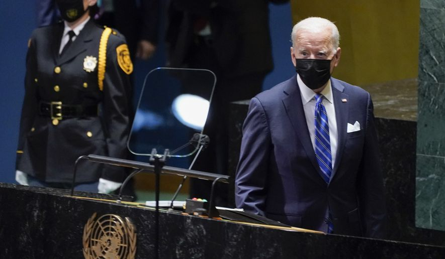 President Joe Biden arrives to deliver remarks to the 76th Session of the United Nations General Assembly, Tuesday, Sept. 21, 2021, in New York. (AP Photo/Evan Vucci)