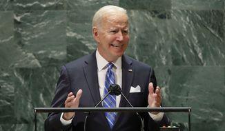 U.S. President Joe Biden speaks during the 76th Session of the United Nations General Assembly at U.N. headquarters in New York on Tuesday, Sept. 21, 2021.  (Eduardo Munoz/Pool Photo via AP)/Pool Photo via AP)