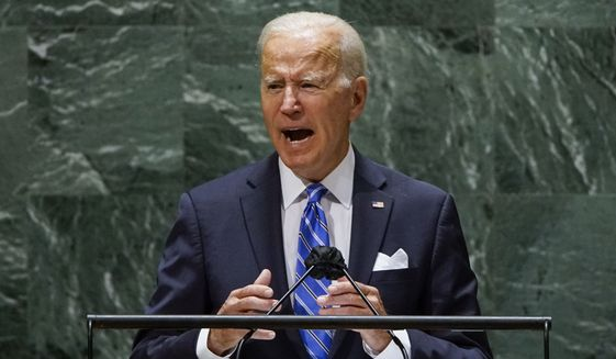 President Joe Biden speaks during the 76th Session of the United Nations General Assembly at U.N. headquarters in New York on Tuesday, Sept. 21, 2021.  (Eduardo Munoz/Pool Photo via AP)