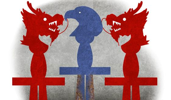 Illustration on China's advances militarily and economically and clueless Biden by Alexander Hunter/The Washington Times