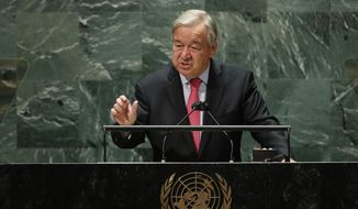 United Nations Secretary-General Antonio Guterres addresses the 76th Session of the U.N. General Assembly, Tuesday, Sept. 21, 2021, at United Nations headquarters in New York. (Eduardo Munoz/Pool Photo via AP)