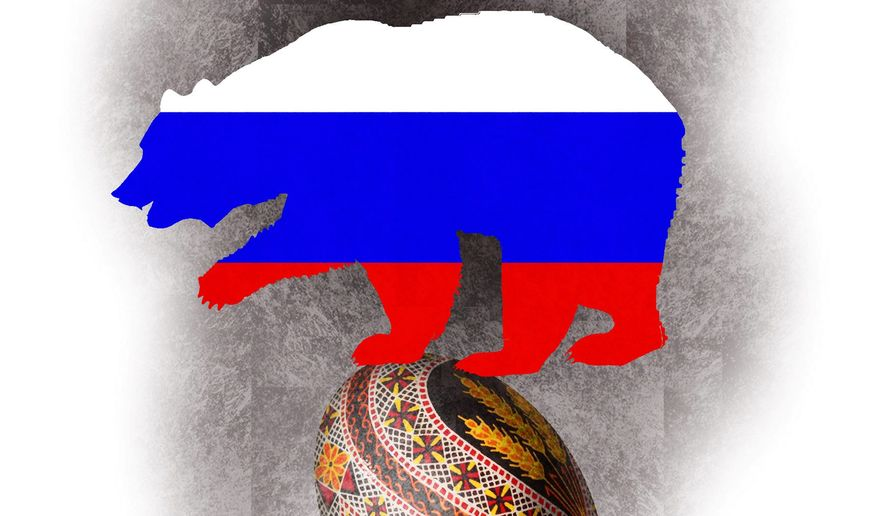 Illustration on Russia and Ukraine by Alexander Hunter/The Washington Times