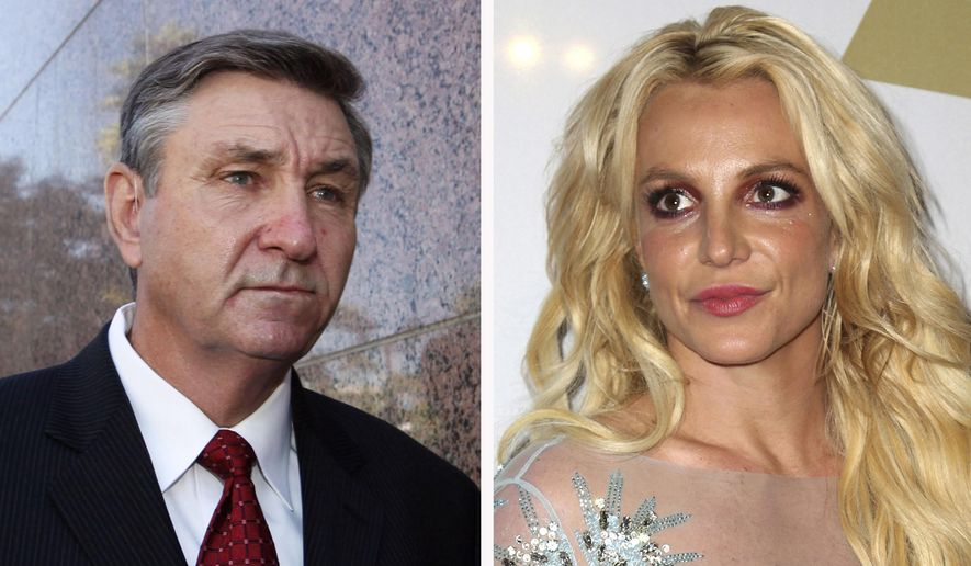 This combination photo shows Jamie Spears, left, father of Britney Spears, as he leaves the Stanley Mosk Courthouse on Oct. 24, 2012, in Los Angeles and Britney Spears at the Clive Davis and The Recording Academy Pre-Grammy Gala on Feb. 11, 2017, in Beverly Hills, Calif. Britney Spears' father has filed to end the court conservatorship that has controlled the singer's life and money for 13 years. James Spears filed his petition to end the conservatorship in Los Angeles Superior Court on Tuesday, Sept. 7, 2021. (AP Photo/File)