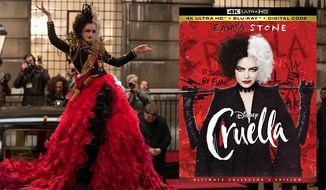"""Emma Stone gets to wear some wild fashion statements in """"Cruella,"""" now available in the 4K format from Walt Disney Studios Home Entertainment."""