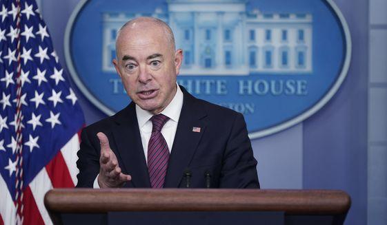 Secretary of Homeland Security Alejandro Mayorkas speaks during a press briefing at the White House, Friday, Sept. 24, 2021, in Washington. (AP Photo/Patrick Semansky) **FILE**