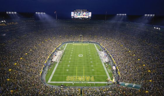General view of Lambeau Field before the Green Bay Packers and Detroit Lions NFL football game Monday, Sept 20. 2021, in Green Bay, Wis. (AP Photo/Jeffrey Phelps)