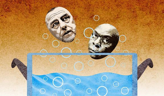 Milley and Austin In Hot Water Illustration by Greg Groesch/The Washington Times