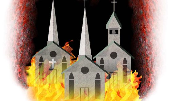 Illustration on church burnings by Alexander Hunter/The Washington Times