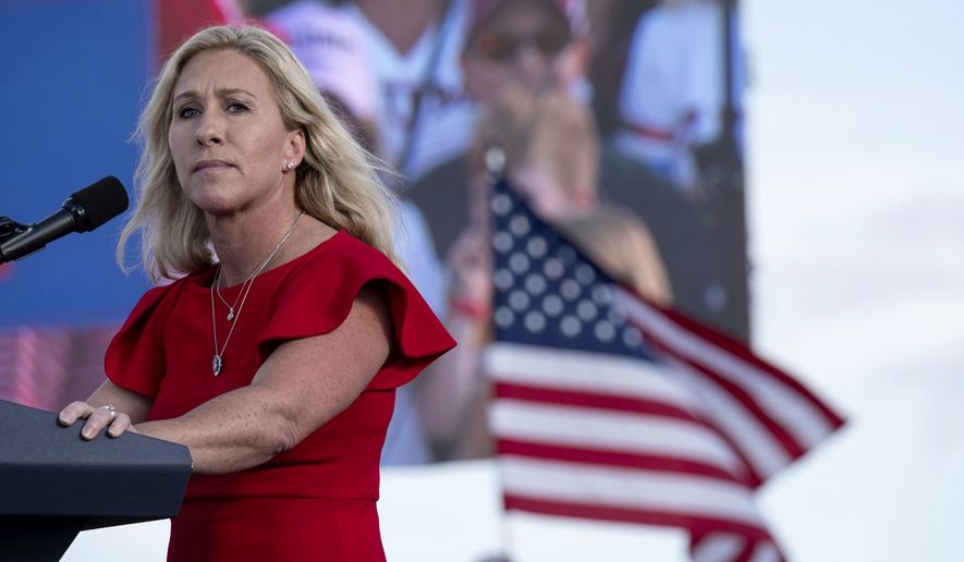 Rep. Marjorie Taylor Greene speaks during former President Donald Trump's Save America rally in Perry, Ga., on Saturday, Sept. 25, 2021. (AP Photo/Ben Gray)