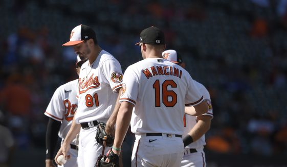 Baltimore Orioles pitcher Connor Greene (81) pauses on the mound before leaving in the eighth inning of a baseball game against the Texas Rangers, Sunday, Sept. 26, 2021, in Baltimore. (AP Photo/Gail Burton)