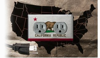 Illustration on California electric/energy policy and the nation by Alexander Hunter/The Washington Times