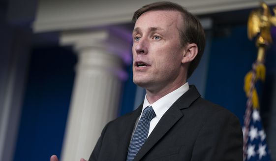 FILE -  White House National Security Adviser Jake Sullivan speaks during a press briefing at the White House, Monday, June 7, 2021, in Washington. Sullivan is traveling to Saudi Arabia on Monday, Sept. 27, 2021, to meet with Crown Prince Mohamed bin Salman as the U.S. tries to press the kingdom to move toward a cease-fire in its years-long war with Houthi rebels in Yemen. (AP Photo/Evan Vucci, File)
