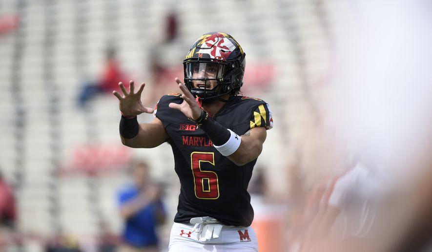 Maryland Jeshaun Jones in an NCAA college football game Saturday, Sept. 25, 2021, in College Park, Md. (AP Photo/Gail Burton) **FILE**