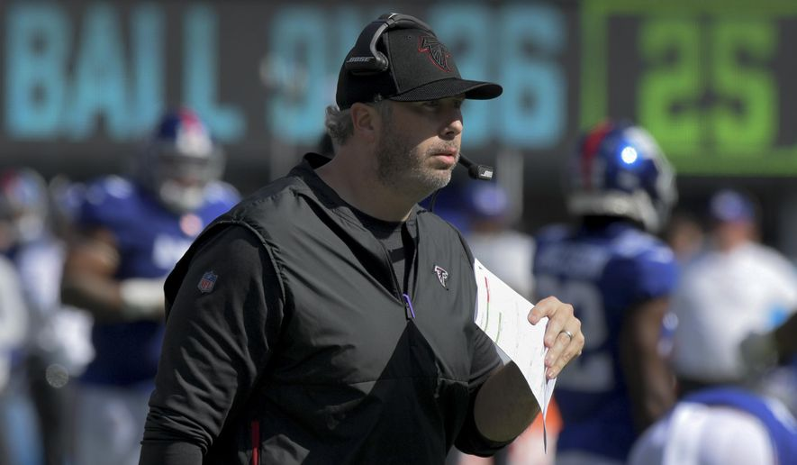 Atlanta Falcons head coach Arthur Smith works the sidelines during the first half of an NFL football game against the New York Giants, Sunday, Sept. 26, 2021, in East Rutherford, N.J. (AP Photo/Bill Kostroun) **FILE**