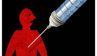 Illustration on vaccine mandates by Alexander Hunter/The Washington Times