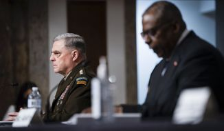 Chairman of the Joint Chiefs of Staff Gen. Mark Milley, left, and Defense Secretary Lloyd Austin testify during a Senate Armed Services Committee hearing on the conclusion of military operations in Afghanistan and plans for future counterterrorism operations, Tuesday, Sept. 28, 2021, on Capitol Hill in Washington.. (Sarahbeth Maney/The New York Times via AP, Pool)