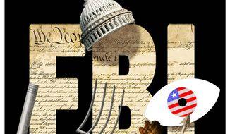Illustration on the FBI's informant on January 6 by Alexander Hunter/The Washington Times