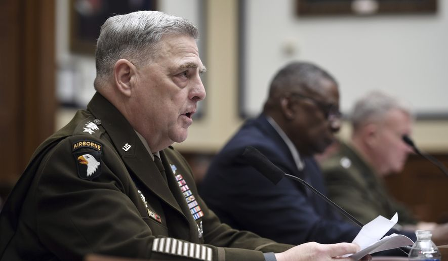 Gen. Mark Milley, chairman of the Joint Chiefs of Staff, testifies before the House Armed Services Committee on the conclusion of military operations in Afghanistan, Wednesday, Sept. 29, 2021, on Capitol Hill in Washington. (Olivier Douliery/Pool via AP)