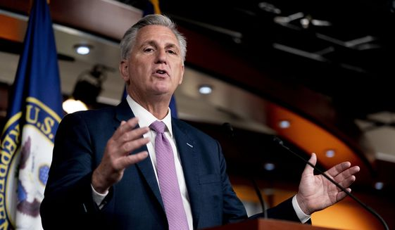 House Minority Leader Kevin McCarthy of Calif. speaks during his weekly press briefing on Capitol Hill, Thursday, Sept. 30, 2021, in Washington. (AP Photo/Andrew Harnik) ** FILE **