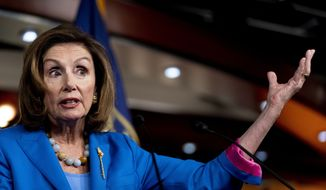 House Speaker Nancy Pelosi of Calif. speaks during her weekly press briefing on Capitol Hill, Thursday, Sept. 30, 2021, in Washington. (AP Photo/Andrew Harnik)