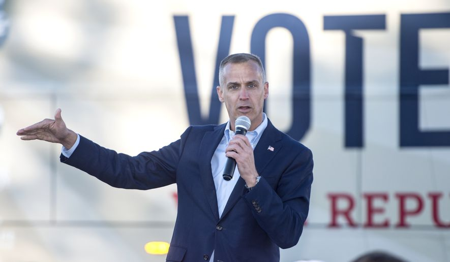 In this Dec. 18, 2020, file photo, former Trump campaign manager Corey Lewandowski speaks at the GOP headquarters in Martinez, Ga. South Dakota Gov. Kristi Noem said Thursday, Sept. 30, 2021, that she'll no longer use Lewandowski as an adviser. Noem's statement comes after Lewandowski was accused of making unwanted sexual advances toward a GOP donor in Las Vegas over the weekend.(Michael Holahan/The Augusta Chronicle via AP) ** FILE **