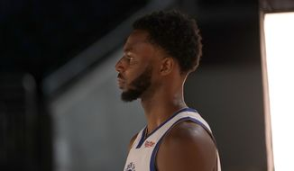 Golden State Warriors forward Andrew Wiggins during the NBA basketball team's media day in San Francisco, Monday, Sept. 27, 2021. (AP Photo/Jeff Chiu)