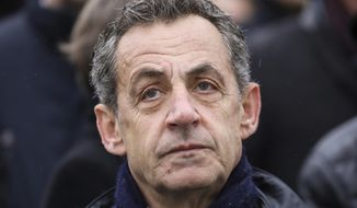 In this Monday, Nov. 11, 2019, file photo, former French President Nicolas Sarkozy attends a ceremony at the Arc de Triomphe in Paris. (Ludovic Marin/Pool via AP, File)