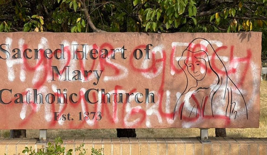 The Sacred Heart of Mary Catholic Church in Boulder County, Colorado, was heavily vandalized in the early morning hours of Sept. 29. Photo courtesy Mark Evevard.