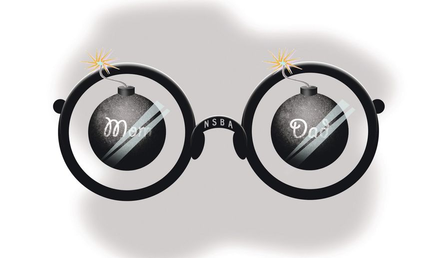 Illustration on the National School Boards Association's view of parents by Alexander Hunter/The Washington Times