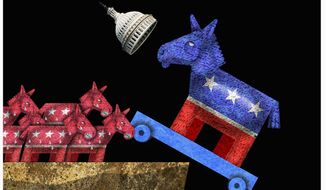 Illustration on the power struggle for dominance in the Democratic Party by Alexander Hunter/The Washington Times
