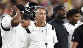Jacksonville Jaguars head coach Urban Meyer looks on during an NFL football game against the Cincinnati Bengals, Thursday, Sept. 30, 2021, in Cincinnati. (AP Photo/Emilee Chinn) **FILE**