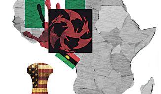 Illustration on IPOB's status as a Foreign Terrorist Group by Alexander Hunter/The Washington Times