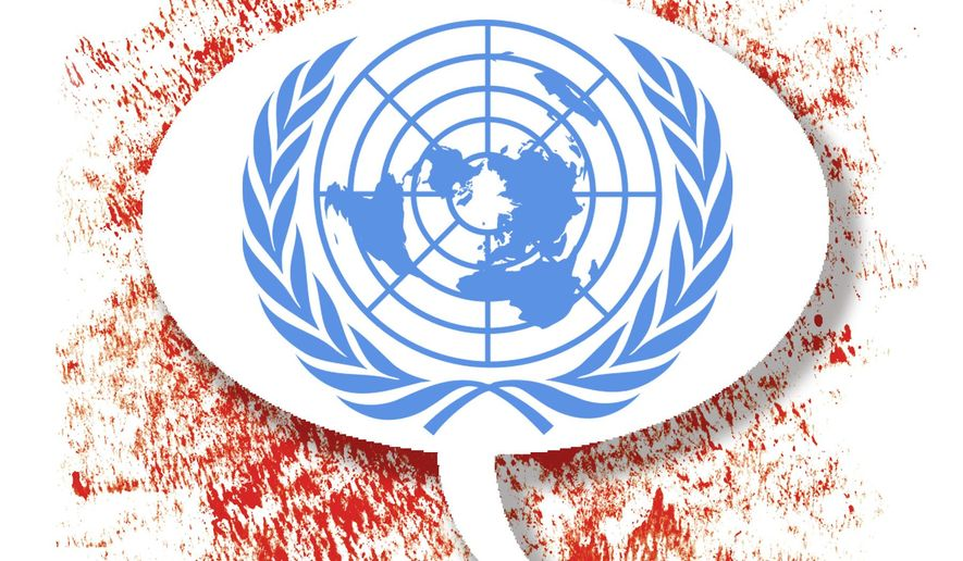 Illustration on United Nations General Assembly verbiage by Alexander Hunter/The Washington Times