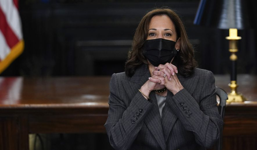 """Vice President Kamala Harris speaks during a meeting with the Council of Presidents of the National Pan-Hellenic Council, also known as the """"Divine Nine,"""" in her ceremonial office on the White House complex in Washington, Wednesday, Oct. 6, 2021. (AP Photo/Susan Walsh)"""