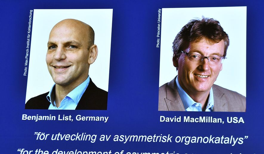 """A view of the screen as the winners of the 2021 Nobel Prize in Chemistry are announced, in Stockholm, Sweden, Wednesday, Oct. 6, 2021. Two scientists have won the Nobel Prize for chemistry for finding an """"ingenious"""" new way to build molecules that can be used to make everything from medicines to food flavorings. Benjamin List of Germany and Scotland-born David W.C. MacMillan developed """"asymmetric organocatalysis."""" Goran Hansson of the Royal Swedish Academy of Sciences said Wednesday that work has already had a significant impact on pharmaceutical research. (Claudio Bresciani/TT New Agency via AP)"""