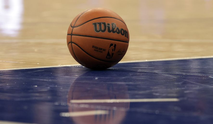 A basketball is seen during the second half of a preseason NBA basketball game between the Indiana Pacers and the New York Knicks on Tuesday, Oct. 5, 2021, in New York. The Knicks won 125-104. (AP Photo/Adam Hunger) **FILE**