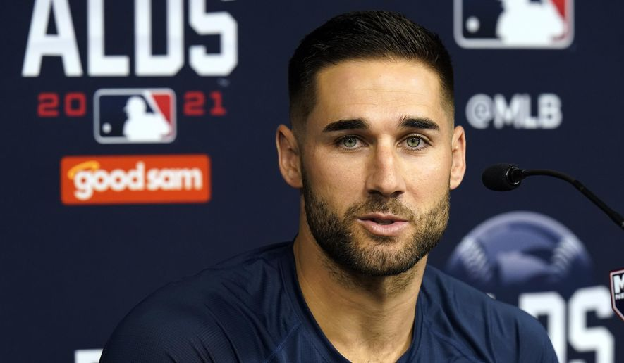 Tampa Bay Rays center fielder Kevin Kiermaier answers a question during a news conference before an American League Division Series baseball practice Wednesday, Oct. 6, 2021, in St. Petersburg, Fla. The Rays play the Boston Red Sox in the best-of-five series. (AP Photo/Chris O'Meara)