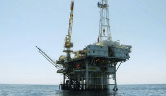 This undated file photo provided by the California State Lands Commission shows Platform Holly, an oil drilling rig in the Santa Barbara Channel offshore of the city of Goleta, Calif. The Platform Holly is one of four offshore oil platforms in California's coastal waters. The state is in the process of plugging and abandoning the platform's wells and eventually plans to decommission the platform, a process expected to cost taxpayers tens of millions of dollars. (State Lands Commission via AP, File)