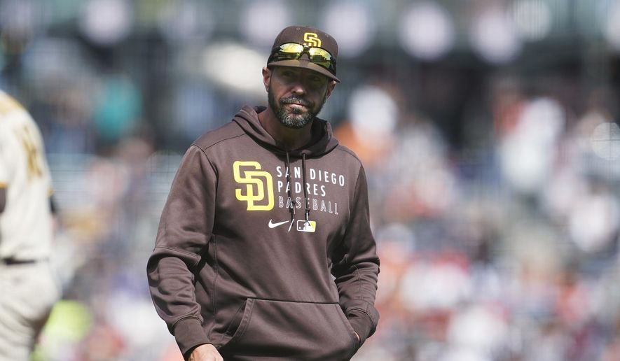San Diego Padres manager Jayce Tingler walks to the dugout after making a pitching change during the sixth inning of the team's baseball game against the San Francisco Giants in San Francisco, Thursday, Sept. 16, 2021. (AP Photo/Jeff Chiu) **FILE**