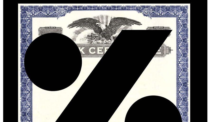 Illustration on taxing stock buybacks by Alexander Hunter/The Washington Times