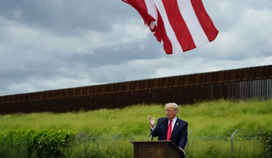Former President Donald Trump speaks during a visit to an unfinished section of border wall in Pharr, Texas. (AP Photo/Eric Gay, File)