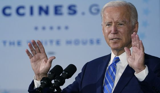 President Joe Biden speaks about COVID-19 vaccinations after touring a Clayco Corporation construction site for a Microsoft data center in Elk Grove Village, Ill., Thursday, Oct. 7, 2021. (AP Photo/Susan Walsh)