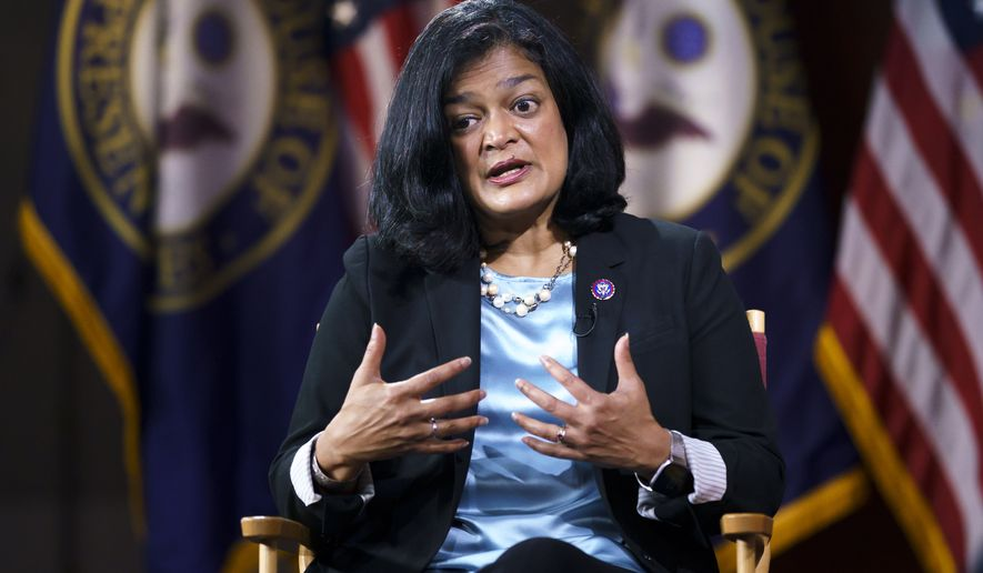 Rep. Pramila Jayapal, D-Wash., chair of the nearly 100-member Congressional Progressive Caucus, talks to The Associated Press about her goals as a champion of human rights issues, and President Joe Biden's domestic agenda, at the Capitol in Washington, Thursday, Oct. 7, 2021.  (AP Photo/J. Scott Applewhite) **FILE**