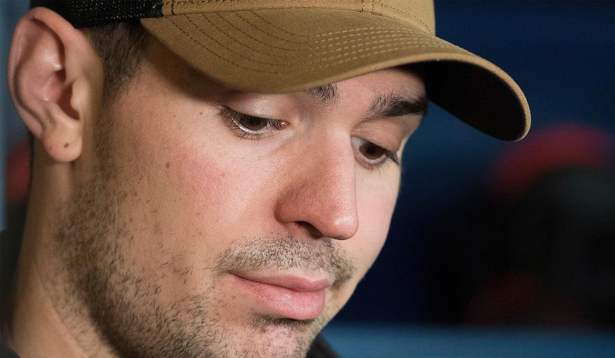 Montreal Canadiens goaltender Carey Price speaks to reporters during an end of season news conference in Brossard, Quebec, in this Monday, April 9, 2018, file photo. Canadiens goaltender Carey Price has voluntarily entered the NHL/NHL Players' Association joint player assistance program, a stunning announcement Thursday, Oct. 7, 2021, less than a week before the season begins and just three months after he backstopped Montreal to the Stanley Cup Final.(Graham Hughes/The Canadian Press via AP, File) **FILE**