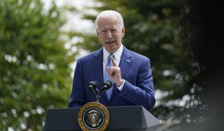 President Joe Biden speaks outside the White House in Washington, Friday, Oct. 8, 2021, during an event announcing that his administration is restoring protections for two sprawling national monuments in Utah that have been at the center of a long-running public lands dispute, and a separate marine conservation area in New England that recently has been used for commercial fishing. (AP Photo/Susan Walsh)