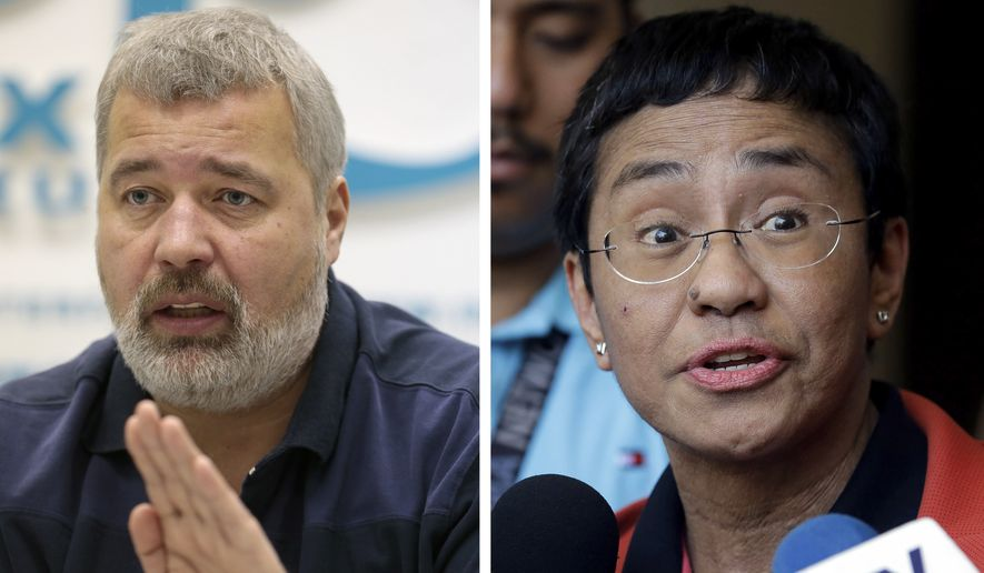 A combo of file images of Novaya Gazeta editor Dmitry Muratov, left, and of Rappler CEO and Executive Editor Maria Ressa. On Friday, Oct. 8, 2021, the Nobel Peace Prize was awarded to journalists Maria Ressa of the Philippines and Dmitry Muratov of Russia for their fight for freedom of expression. (AP Photo/Mikhail Metzel and Aaron Favila, File)