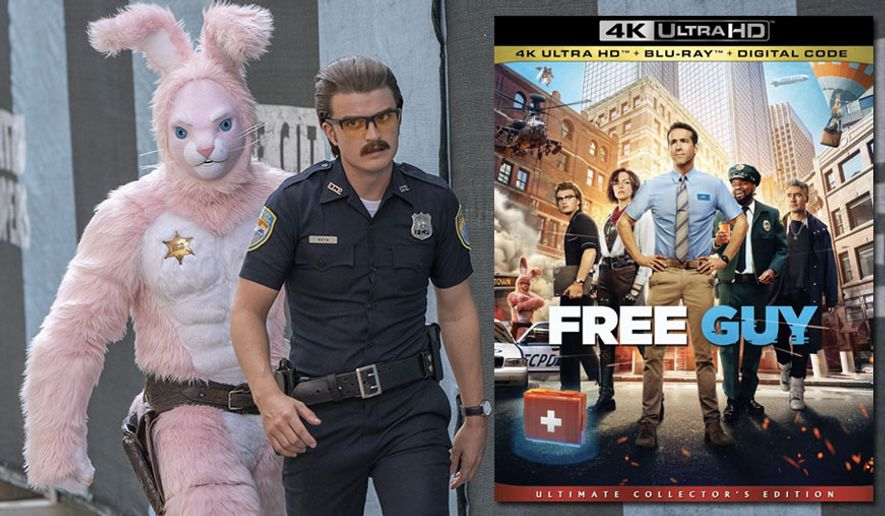 """Free City avatars controlled by Mouser (Utkarsh Ambudkar) and Keys (Joe Keery) hunt Guy (Ryan Reynolds) in """"Free Guy,"""" now available in the 4K format from Walt Disney Studios Home Entertainment."""