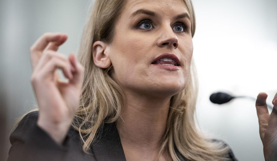 Former Facebook data scientist Frances Haugen speaks during a hearing of the Senate Commerce, Science, and Transportation Subcommittee on Consumer Protection, Product Safety, and Data Security, on Capitol Hill, Tuesday, Oct. 5, 2021, in Washington.  (Jabin Botsford/The Washington Post via AP, Pool)